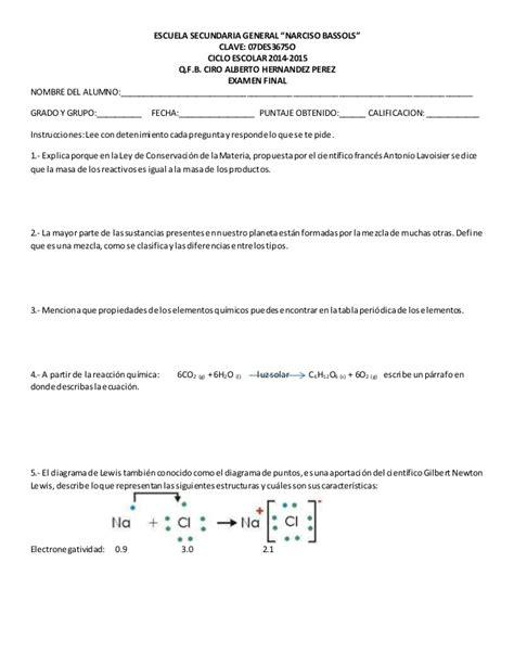 preguntas abiertas de quimica para secundaria examen final de ciencias 3
