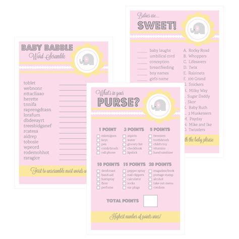 Gamis Set Baby Pink pink elephant baby shower set of 10 baby shower