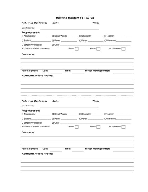 Bullying Incident Reporting Form Sle Free Download Harassment Report Template