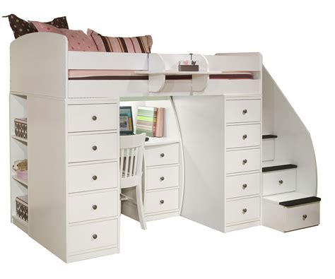 white loft bed with desk and stairs space loft bed with desk clever it size loft bed