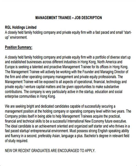 Management Trainee Description by Management Description Sle 12 Exles In Word Pdf