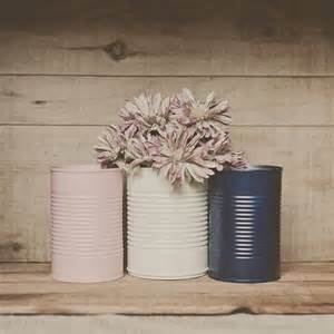 Tin Vases Wedding by 3 Painted Tin Cans Pink And Navy Blue Blush Pink Wedding Centerpiece Wedding Vases