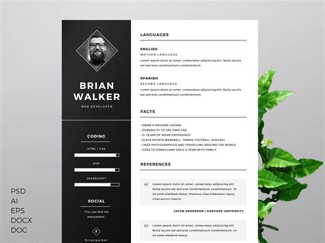 design cv photoshop the best cv resume templates 50 exles design shack