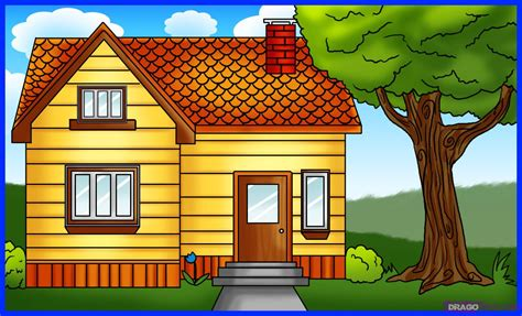 house drawing how to draw a house step by step buildings landmarks