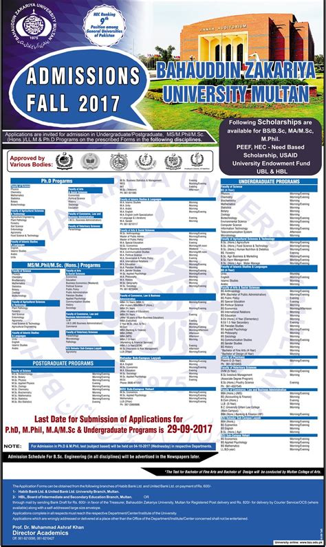 Bzu Mba Admission 2017 by Admission Open In Bahauddin Zakariya Bzu Multan