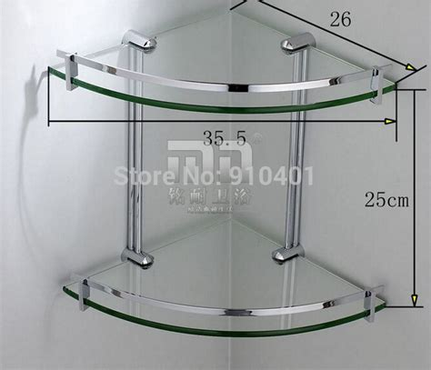 bathroom glass corner shelves shower wholesale and retail promotion chrome brass bathroom
