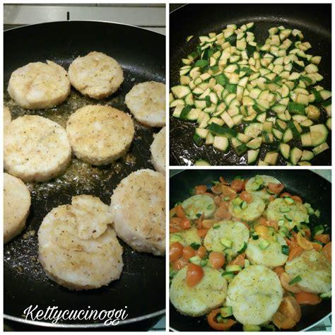 come cucino le zucchine medaglioni di merluzzo con pomodorini e zucchine ketty