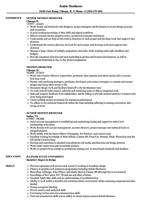 motion graphics artist resume ideas documentation
