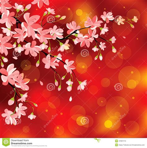 chinese new year flowers stock vector illustration of
