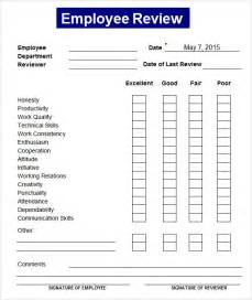 Employee Performance Review Templates by Sle Employee Review Template 7 Free Documents