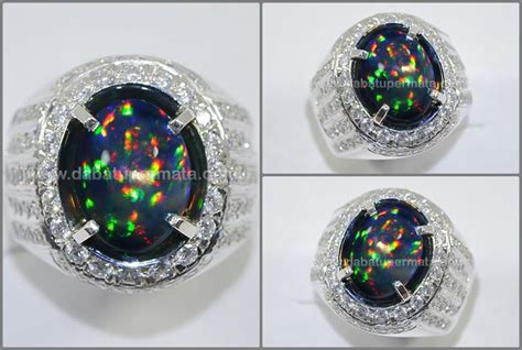 Cincin Ring035 sparkling panca warna black opal kalimaya top op 035 opal gemstone batu