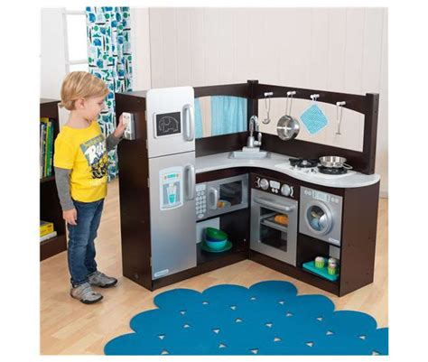 kidkraft grand gourmet espresso corner kitchen with metal