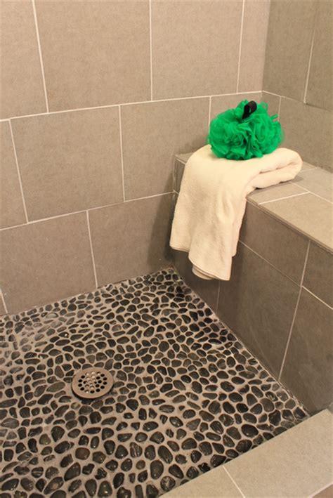 pebble bathroom tile how to grout pebble tile 187 decor adventures