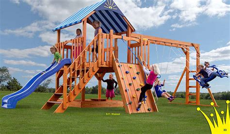 Amish Swing Sets by Vinyl Wooden Swing Sets Amish Playsets Nj