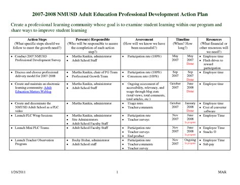 employee professional development plan template professional development plan sle