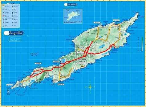 anguilla map large detailed road and physical map of anguilla anguilla large detailed road and physical map