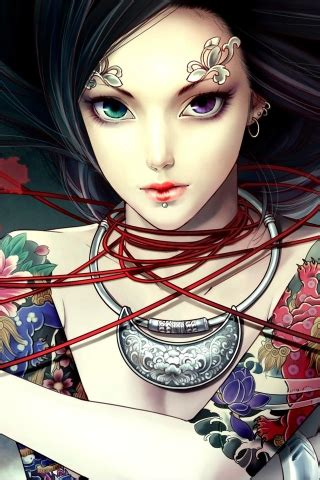 anime girl tattoo wallpaper anime tattoo princess for iphone 4s wallpapers iphone