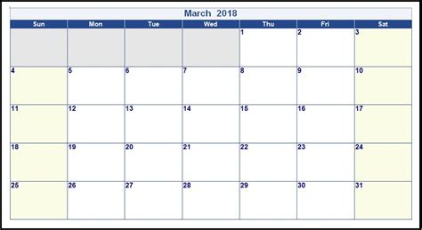 Editable March 2018 Calendar Calendar 2018 2018 Editable Calendar Template