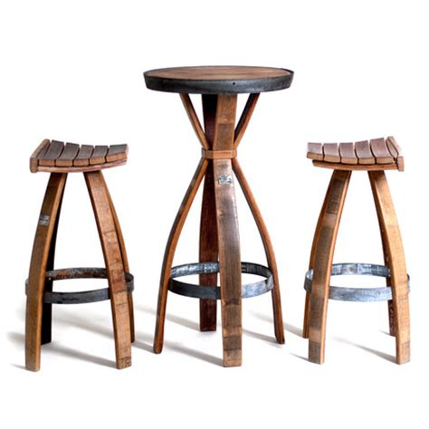 bar table with two stools wine barrel bar set one table two stools wine