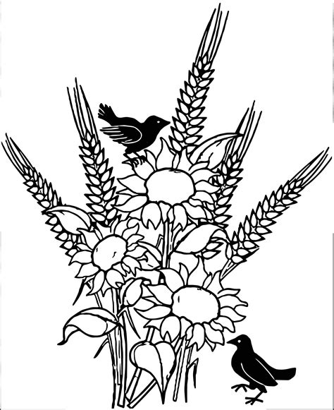 coloring pages of fall flowers autumn flower birds coloring page wecoloringpage