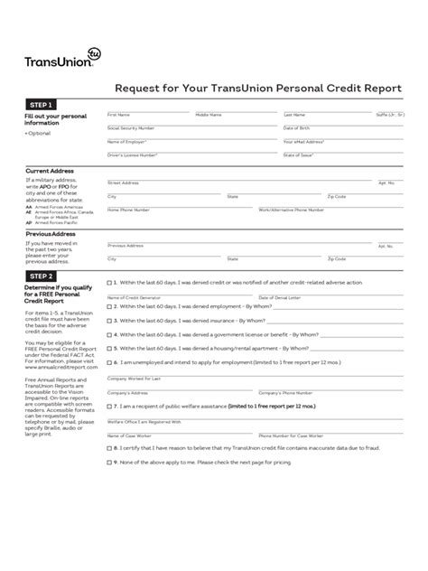 Transunion Credit Bureau Dispute Letter Mailing Address Credit Report Form 2 Free Templates In Pdf Word Excel