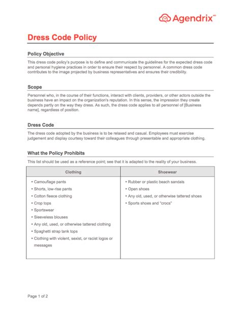 Office Dress Code Policy Sle Fashion Dresses Template Code