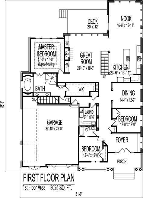 3 Bedroom One Story House Plans by Attractive 2 Bedroom 2 Bath Single Story House Plans 3 3