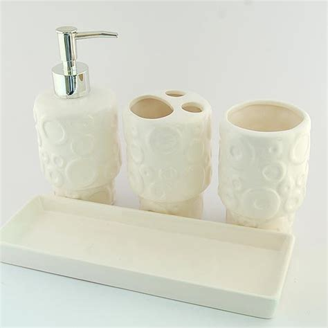 ceramic bathroom accessories sets abstract embossment design ceramic bath accessory set