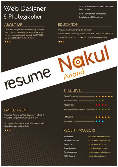 contoh cv design graphic resume design by nakulanand on deviantart
