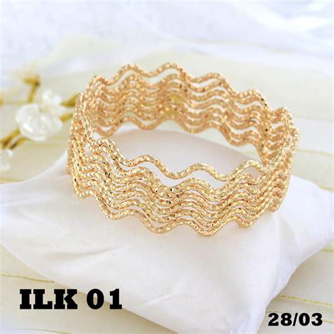 jual gelang keroncong model ombak emas perhiasan xuping