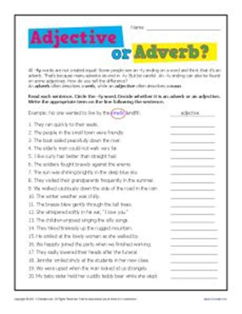 Adverbs 2nd Grade Worksheets by Adjective Or Adverb 2nd Or 3rd Grade Worksheet