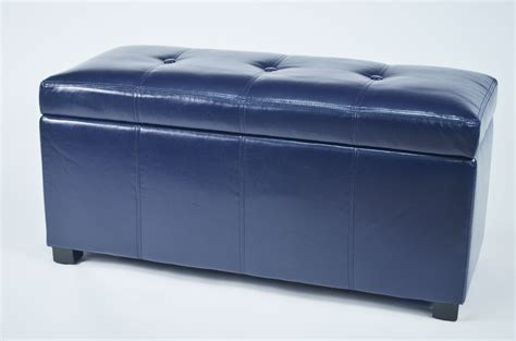 blue storage bench ariel dark blue faux leather tufted storage bench from