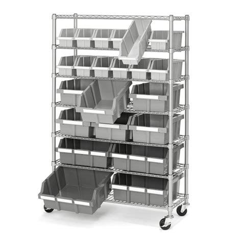Shelving Rack With Wheels by Commercial Garage Rolling 22 Bin Storage Rack Steel Frame Shelving Unit 4 Wheels Ebay