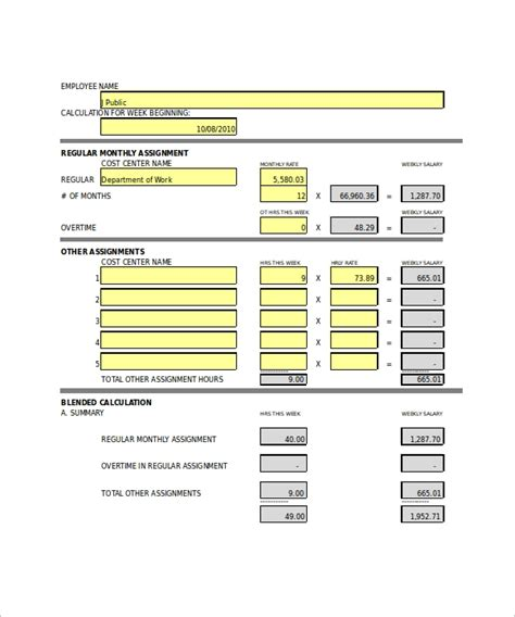 11 Prinatable Overtime Calculator Templates Sle Templates Overtime Schedule Template
