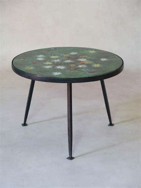 coffee table with colourful enameled top 1950s
