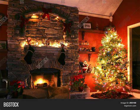 Fireplace With Tree by Tree Next To The Fireplace