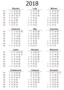 Kalendarz Ze świętami Na 2018 Rok Kalendarium Wklejka A4 W Układzie Pionowym 2018 Projekt