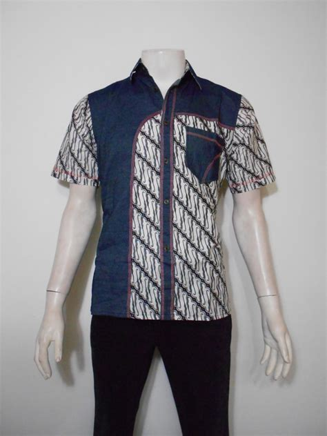 desain kemeja lengan panjang batik desain kemeja batik pria kombinasi kain polos lengan