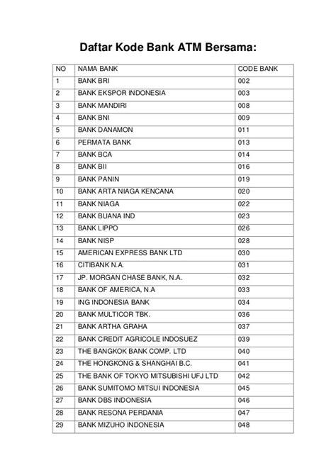 bca kode bank kode bank bca seluruh cabang bca indonesia download lengkap