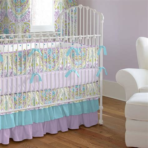 nursery comforter aqua and purple jasmine crib bedding carousel designs
