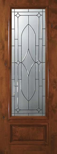 Exterior Slab Doors With Glass Slab Entry Single Door 96 Knotty Alder Bourbon 1 Panel 3 4 Lite Glass Eclectic Front Doors
