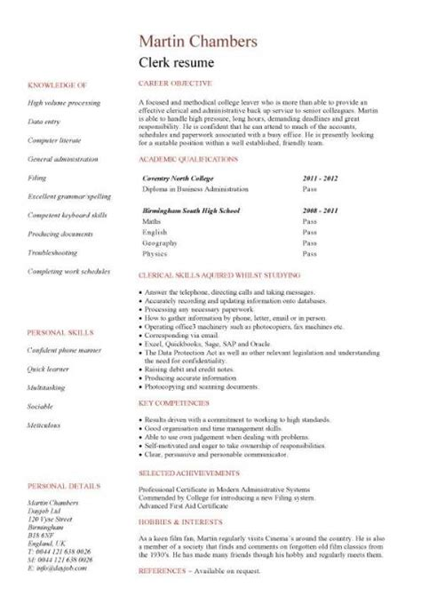How To Make A Resume Without College Experience by Entry Level Resume Templates Cv Sle Exles