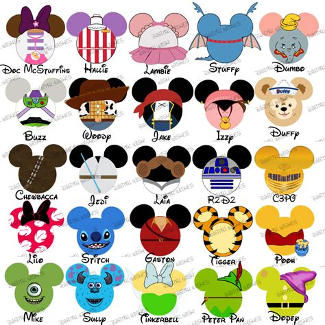 choose your mouse characters disney family vacation digital clip my has ears