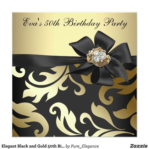 Black And Gold 50th Birthday Decorations by Black And Gold 50th Birthday Card Zazzle