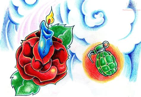 roses tattoo flash candle flash