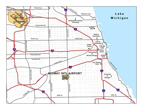 chicago map with airports chicago midway international airport