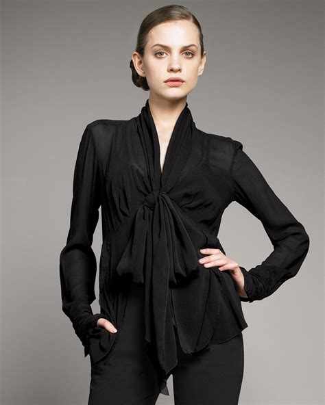 Limited Edition Tie Neck Blouse by Donna Karan Tie Neck Blouse With Cami In Black Lyst