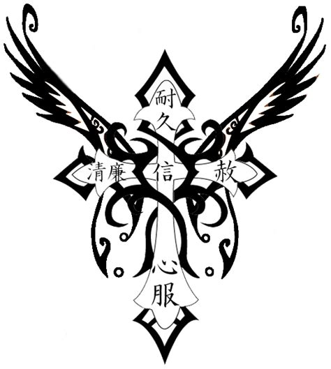 tribal cross tattoos with wings black tribal wings cross design