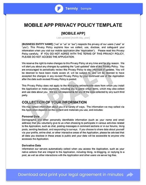 Sle Privacy Policy For Mobile Apps Template Guide Termly Free App Privacy Policy Template