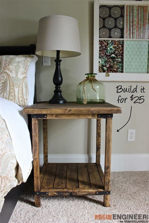 diy bed table simple square side table free diy plans rogue engineer